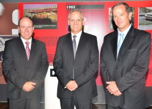 Dr Casper Kruger (left) has handed over the reins of Hino Trucks to Ernest Trautmann, (centre) who now holds the position of Vice President of Hino South Africa. Pieter Klerck (right) is now General Manager - Sales and Dealer Network at Hino SA.