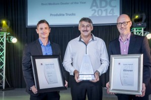 UD Trucks' Medium Dealer of the Year winner Gideon Visser from Produkta Trucks (centre) is presented his award by Jacques Carelse, MD of UD Trucks Southern Africa (left), and Torbjörn Christensson, president of the Volvo Group SA