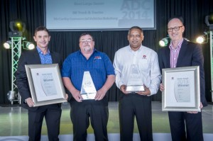 The presentation of UD Trucks' Large Dealer of the Year to the joint winners, from left: Jacques Carelse, MD of UD Trucks Southern Africa,  Les Greene (BB Truck & Tractor), Leonard Herman (McCarthy Commercial Vehicles Boksburg) and Torbjörn Christensson, president of the Volvo Group SA