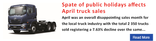 Spate of public holidays affects April truck sales