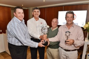 Winner of the inaugural John Robbie Invitational was the UD Trucks team, from left: Duane Fourie of Spartan Truck Hire; Gert Swanepoel, general manager, fleet sales, UD Trucks; Steven Muller of  Enviroserv; and Patrick O'Leary of FleetWatch. Up Team. Yeah!