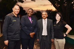 Attending the prize giving were, from left: Yusuf Abramjee, head of Crime Line; General Riah Phiyega, National Police Commissioner; Lt-General Vinesh Moonoo, Head of Detective Services and Marisa Oosthuizen, Crime Line Coordinator.