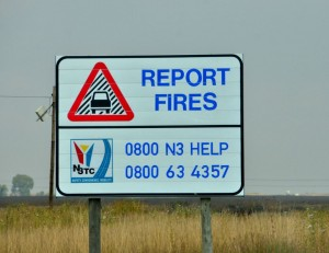 If you come across a veld fire or smoke across the road, report it immediately.