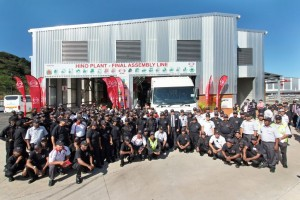 Proud staff gather for a commemorative photograph at the plant's official opening. The headcount has remained unchanged with 55 direct team members and 29 indirect workers backed up by 15 administrative and technical staff.