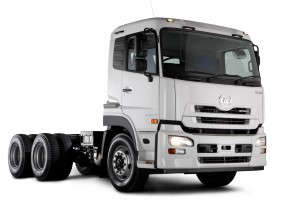 The new Quon GW26 450 6x4 truck-tractor from UD Trucks which features the GE 13 TD 6-cylinder in-line turbo charged and inter-cooled engine with an electronic fuel management system.