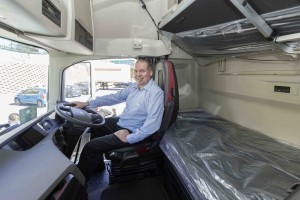 Eric Corbishley, Group CEO of Triton Express takes to the wheel of the new Volvo FH model brought into the fleet.