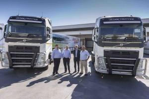 Happy at the handover of the first new Volvo FH models to Triton Express are, from left: George Horn, managing director, Triton Linehaul; Eric Corbishley, Group CEO, Triton Express; Torbjörn Christensson, president, Volvo Trucks South Africa; and Kavanagh, sales executive, Volvo Trucks.