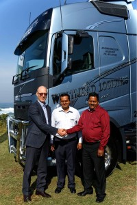 The Westmead Group's CEO Vishal Haripersadh (centre) and Jay Haripersadh (director) receive the keys to their first new Volvo FH model from Torbjörn Christensson, President Volvo Group South Africa. The new branding as seen on this model will soon extend to all units in the fleet.