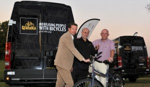 Qhubeka director Anthony Fitzhenry (middle) receiving two Daily vans from Iveco MD Bob Lowden (right) and marketing and network manager Christophe Longuet.