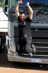 Judging by this photograph, there's no doubt that Reggie Naidoo, an owner-driver of Hark Logistics in KwaZulu-Natal, was absolutely exstatic after being declared winner of the Volvo Trucks SA Drivers' Fuel Challenge. He will represent South Afrtica in Sweden in the the world finals in Sweden later this year.