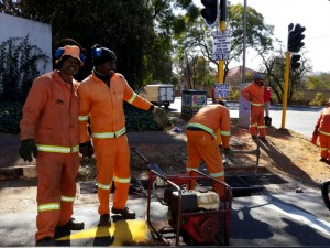 Approximately 5 000 storm water drains which have either been chopped up for their metal wire, stolen or damaged need to be replaced at a cost of R10-million. Here a JRA crew is busy repairing a storm water drain entry point.