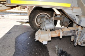 Despite an under-run bumper on the trailer, the impact still smashed off the dual wheel and axle at 100km/h.