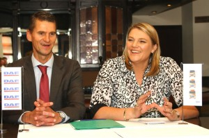 A happy partnership: MD of sales operations at DAF Trucks NV, Michiel Kuijs, with Wilna Steyn, CEO of Babcock Africa's Transport Solutions Division, after signing the renewing of its distribution contract for Southern Africa with the Babcock International Group for a further five years.
