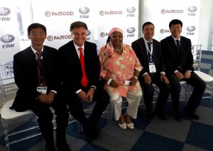 All the 'big-wigs' were there for the signing of the new venture between FAW South Africa and the Pamodzi Group. From left: FAW deputy CEO Jianyu Hao; FAW executive director Richard Leiter; Minister of Defence and Military Veterans, Minister Nosiviwe Masipa-Nqakula; FAW CEO, Yusheng Zhang; and FAW CFO, Haichuan Teng.