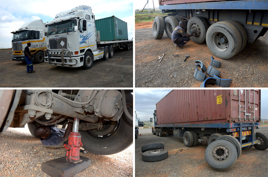 The day after….trucks being repaired after being discontinued the night before. Two of the trucks that were discontinued had too many severe faults to be repaired on site. They had to be towed away by their owners.