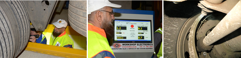 The Gauteng MEC for Roads and Transport, Ismail Vadi, visited the Brake & Tyre Watch project in Heidelberg to see for himself what we find on the roads. Here he is seen in the pits with one of our team leaders, Wolfgang Lehmann, showing him the faults found on the underside of one of the rigs brought in for testing. The second pic shows him viewing a typical brake 'fail' on a rig as determined on the brake roller tester. The third picture here shows an example of the horrendous brake faults we find. Note there is no brake lining on the brake shoe. The rivets are loose and are actually falling off the brake shoe. Zero brakes here.