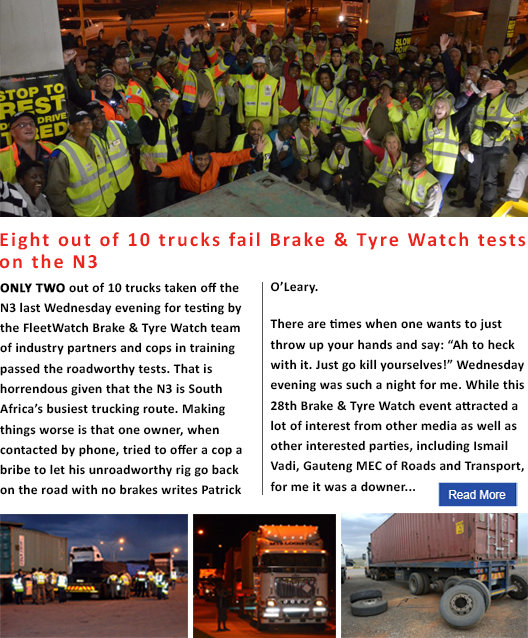 Eight out of 10 trucks fail Brake & Tyre Watch tests on the N3