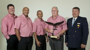 The winning team from Hino Parow (from left): Hennie Marx, franchise executive; Ashley Karra, service manager; Wayne Coetzee, parts manager; Wouter Nel, dealer principal, and Steven du Plessis, sales manager.