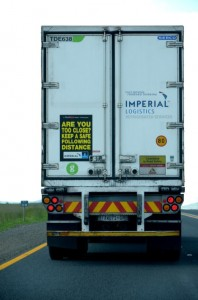 During 2014, the majority of crashes along the N3 were caused by drivers losing control of their vehicles and rolling, followed by head-tail collisions and vehicles leaving the road. Take the advice of the truck drivers and keep a safe following distance from the vehicle in front of you at all times. (The poster displayed on the truck is a FleetWatch Initiative for Road Safety. Thanks to Imperial Logistics for spreading the message on its trucks)