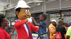 The TRAC mascot, Sipho teaches kids about road safety.