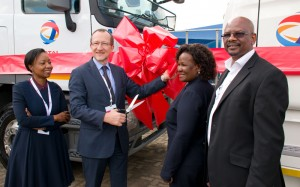 Cutting the ribbon to a brighter transport future are, from left: Total South Africa HR & Transformation manager, Tumi Zondo; Total South Africa CEO and MD Christian des Closières; Nona Chili, MD at Makwande Supply and Distribution; and Eric Mgqibelo CEO of Anax Logistics.