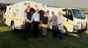 Seen at the handover of the 207th Hino 815-based cash-in-transit vehicle by Hino West Rand to SBV in Johannesburg are, from left: Malcolm Glennie, head of fleet management at SBV; Ernie Trautmann, vice president of Hino SA; Mark Barrett, managing director of SBV SA; Julian Visagie, dealer principal of Hino West Rand; and Fanie Pretorius, head of logistics at SBV.