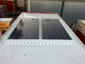 Solar Panels – single and double – shown on the back of a truck trailer – reducing addling time.