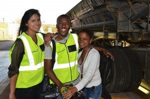 E TV crew Judith Subban , Pumla Mgobhozi and Camera person Mlingane Dube wearing Imperial Road Safety Reflective vests which were supplied to all drivers whose trucks were tested.