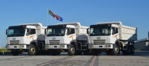 FAW CA3320 15m3 tipper trucks destined for Tanzania assembled in South Africa.