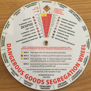 The Dangerous Goods Segregation Wheel that indicates the load/and or storage compatibility of mixed cargoes at a glance – using the glass warning diamonds.