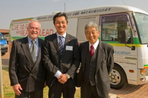 Left to right: Tony Burns – Bridgestone, Ikuo Goto – Bridgestone, and  Tadashi Hasunuma – Founder Sapesi-Mobile Library Project