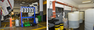 Automatic lubrication stations have been installed alongside the service bays in the workshops where lubes are fed from massive tanks in a lubrication dispensing area.