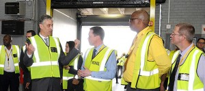 Frank Appel, CEO of Deutsche Post DHL Group (left), does a tour of the Express Gateway in Johannesburg. During his visit to South Africa and Nigeria, he reaffirmed DHL's commitment to sub-Saharan Africa spelling out a further planned investment in excess of R254.4-million in 2015 into sub-Saharan Africa.