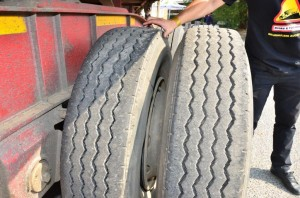 Examples of tyre faults found at <em>FleetWatch Brake & Tyre</em> events. The inner tyre was totally flat leaving the outer tyre to do all the work. Unsafe and a waste of money.