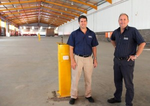Production manager, Craig Rogers (left) in the new Serco Durban factory premises with Serco's managing director Clinton Holcroft.