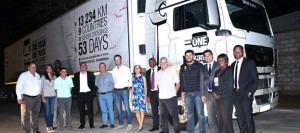 Staff and guests at the official opening of the new Matola Truck & Bus Mozambique dealership. A highlight of the event was the arrival of the new MAN TGX 26.540 and the <em>ONE MAN kann</em> team, which sees celebrity explorer, Riaan Manser (fourth from right) and co-driver, Nduna Chari (on loan from MAN customer fleet, Manline) undertake an epic truck journey, along with an extreme-adventure film crew, through nine African countries, travelling over 13 000km in 53 days.  Having departed from Pinetown in KZN on the 8th of September, the team stopped over in Johannesburg for an event at MAN Head Office in Isando and then travelled east to Swaziland, stopping over at Manzini, before heading for Mozambique.