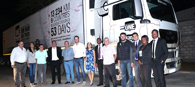 Staff and guests at the official opening of the new Matola Truck & Bus Mozambique dealership. A highlight of the event was the arrival of the new MAN TGX 26.540 and the ONE MAN kann team, which sees celebrity explorer, Riaan Manser (fourth from right) and co-driver, Nduna Chari (on loan from MAN customer fleet, Manline) undertake an epic truck journey, along with an extreme-adventure film crew, through nine African countries, travelling over 13 000km in 53 days. Having departed from Pinetown in KZN on the 8th of September, the team stopped over in Johannesburg for an event at MAN Head Office in Isando and then travelled east to Swaziland, stopping over at Manzini, before heading for Mozambique.
