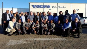 Christian Coolsaet, managing director of Volvo Trucks and Renault Trucks South Africa (kneeling far left) and Torbjorn Christensson, president of Volvo Group Southern Africa (kneeling far right), join management and staff for a celebratory photograph at the opening of this new dealership. There are 37 well-trained technical, sales, aftermarket and support staff at the dealership to provide Volvo Trucks and Renault Trucks customers with world-class quality products and services.