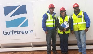 Breaking new ground as an independent fuel wholesaler with the Gamsberg Project are, from left: Shane Jegels, CEO of Gulfstrem Energy, Saretha Faro, site manager, and Faeez Samsoodien, sales executive.
