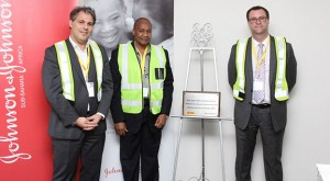 From left to right:  Makis Kosmatos Area Managing Director South Africa and Sub-Sahara Africa Johnson & Johnson;  Stand in for BCM Mayor-Councillor A S Mtsi; Paul Stone - CEO Africa and Managing Director South Africa - DHL Supply Chain South Africa