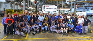 Proud staff and management of Isuzu Trucks South Africa gather to celebrate the 30 000th truck to roll off the production line at General Motors South Africa's Kempston Road plant. A magnificent achievement.
