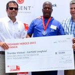 Themba Vilakazi, winner of the 2015 Highway Heroes with Wayne Rautenbach, general manager of Regent Commercial Vehicles (left) and employer David Street from Fairfield Long Haul.