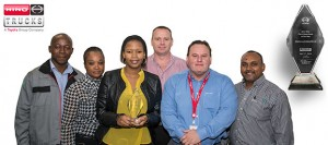 The Hino South Africa winning team, from left: Khathu Mudonde, Hino Parts Operations Support Manager; Dorcas Karosa, Hino Parts Senior Analyst; Gao Malau, Hino Parts Inventory Manager; Chris Jansen van Vuuren, Hino National Parts Manager; Charl Oosthuizen, Toyota Parts Interpretation; and Sudesh Sanilall, Senior Manager Hino Customer Service and After Sales.