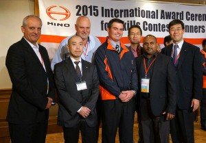 The winner of the Hino SA local skills competition, Percy Nuttal Jonker, of Hino Bethlehem, was a VIP guest at the Hino Motors skills contests in Yokahama, Japan. Seen at the contest in Japan, from left, are:  Ernie Trautmann, Vice President of Hino SA; Takashi Nara, Assistant Manager Mid East, Europe and Africa Service Division; Leslie Long, Senior Manager Marketing, Product and Demand Planning; Percy Nuttall Jonker, winner of SA skills competition; Yasushi Muroya, Divisional Senior Executive Co-ordinator Hino SA; Sudesh Sanilal, Senior Manager: Customer Service & After Sales and Toshiaki Kanno, Senior Executive Co-ordinator, After Sales.