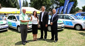 Seen at the handover of four vehicles to Bakwena as well as 15 patrol and Emergency Medical Rescue Service (EMRS) vehicles to the N3TC are, from left: Liam Clarke (Bakwena N1N4), Niki Cronje (Group Marketing at Imperial), Corne Venter (Imperial Car Rental Division), Con Roux (N3TC). This vehicle sponsorship by Imperial Road Safety - running for the fourth consecutive year and supported by Imperial's Europcar - is aimed at increasing and boosting route surveillance, patrol support and post-crash care during South Africa's busiest holiday season.