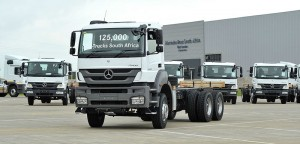 A milestone reached: The 125 000th truck to roll off the Mercedes-Benz SA assembly line In East London was this Mercedes-Benz Axor 3335.
