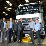 It was smiles all round as the 125 000th truck to roll of the MBSA assembly line in East London was handed over to Aqua Transport and Plant Hire. Seen here are, from left:  Siganeko Mtya, Mercedes-Benz Trucks regional sales manager; Jason Brunninger, Mercedes-Benz Trucks national sales manager; Anil Dharmapal, sales executive at Mercedes-Benz Commercial Vehicles Durban; Donovan Naicker, director of Aqua Transport and Plant Hire; Clinton Savage, head of Mercedes-Benz Trucks; and Robbie van der Merwe, dealer principal at Mercedes-Benz Commercial Vehicles Durban.