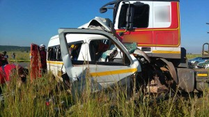 This war-zone resulted in three people being killed and nine inured in a head-on collision between a taxi and a truck on the R28 near Vereeniging, on the borders of Westonaria.