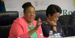 Minister of Transport Dipuo Peters, flanked on her right by Deputy Minister Sindisiwe Lydia Chikunga, at the announcement of the festive season road death toll where she revealed that 1 755 people died during the period December 1, 106 to January 11, 2016.