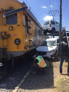 An unusual incident, thankfully with no deaths, occurred where two people were injured after a train and truck collided on Military Road in Steenberg in the Western Cape.